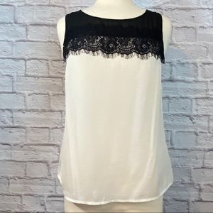 Forever 21 Lace Trimmed Button Back Tank Blouse M